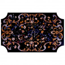 Milan Dining Table Top Decorative With Semi Precious Gemstones Pietra Dura Inlay Craft Work Handmade Marble Dining Table For Home and Hotel