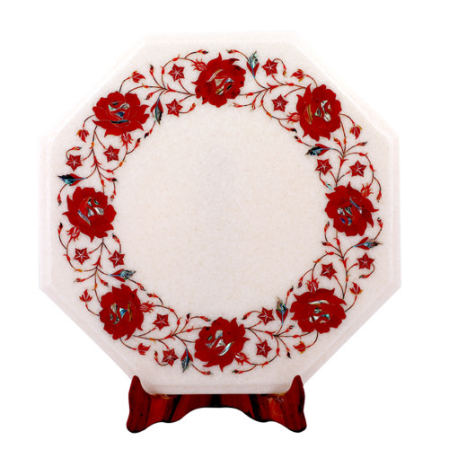 Octagonal White Marble Side Table Inlaid With Carnelian Gemstone
