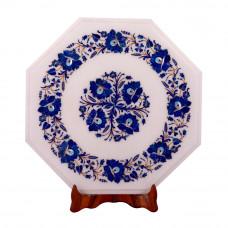 Octagonal White Marble Side Table Inlaid With Lapislazuli Gemstone