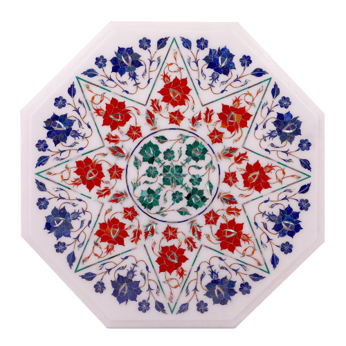 Octagonal White Marble Side Table Inlaid With Semiprecious Gemstones