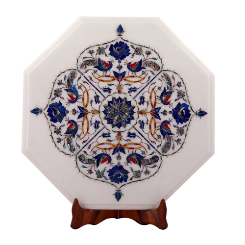 Octagonal White Marble Top Side Table Inlaid Peacock Design