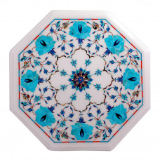 Octagonal White Marble Top Side Table Inlaid With Turquoise Gemstone