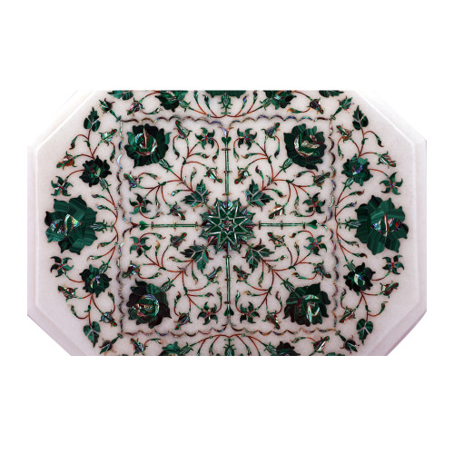 Octagonal White Marble Side Table Inlaid With Malachite Gemstone