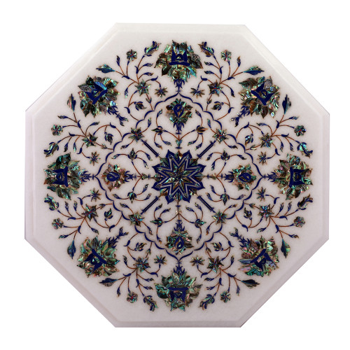 Octagonal White Marble Side Table Inlaid With Pauch Shell Gemstone
