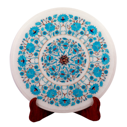 Round White Marble Coffee Table Inlay Turquoise Gemstone