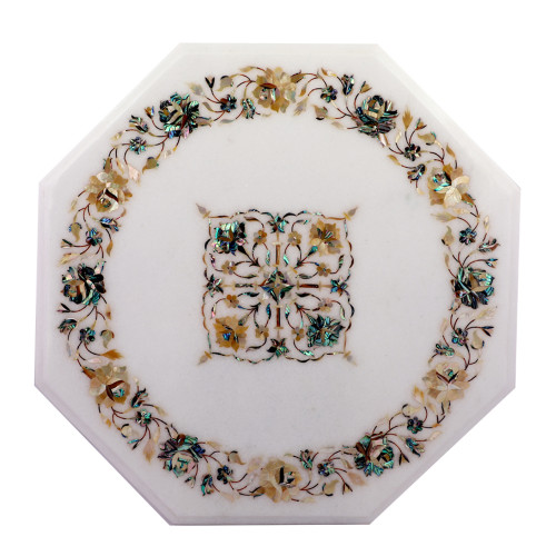 Octagonal White Marble Top Side Table Inlaid With Pauch Shell And Yellow Pearl Gemstones