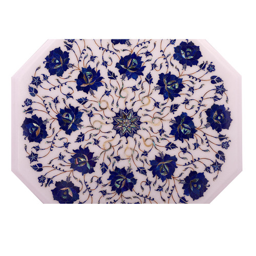Floral Pietra Dura Octagonal white Marble Side Table