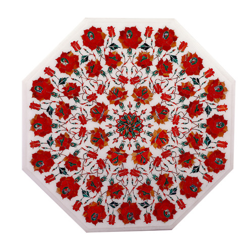 Handmade Decorative Floral Design Octagonal White Marble Side Table
