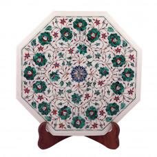 Decorative Octagonal White Marble Side Table Inlaid With Malachite Gemstone
