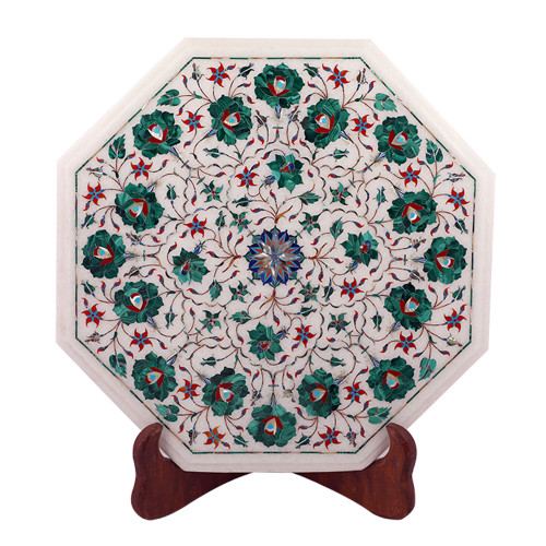 Decorative Octagonal White Marble Side Table Inlaid With Malachite Gemstone