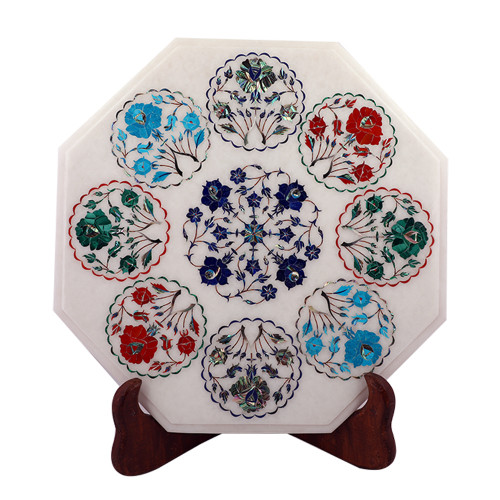 Handmade Solid Octagonal White Marble Side Table