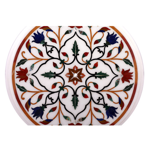 Round White Marble Inlay Top Side Table Wooden Base Furniture
