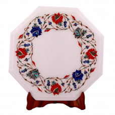 Rose Flower Decorative Octagonal White Marble Top Side Table