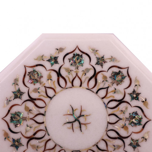 Octagonal White Marble Side Table Inlaid With Mother of Pearl Gemstone