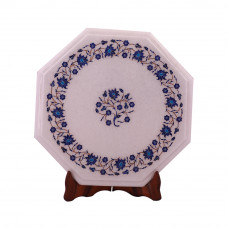 Round Decorative Octagonal White Marble Side Table Inlaid With Semiprecious Stones