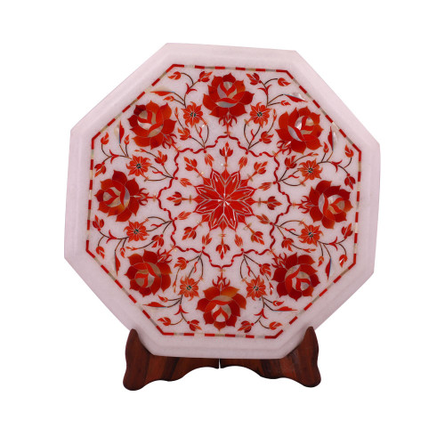 Flower Decorative White Marble Side Table Inlaid With Carnelian Gemstone