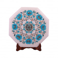 Flower Decorative White Marble Side Table Inlaid With Turquoise Stone