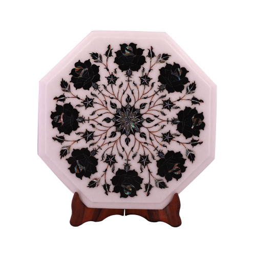 Octagonal White Marble Top Side Table Inlaid With Black Onyx Gemstone