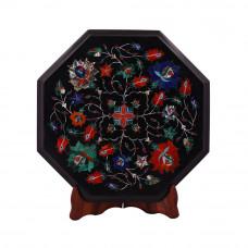 Octagonal Black Marble Side Table Inlaid With Semiprecious Gemstone