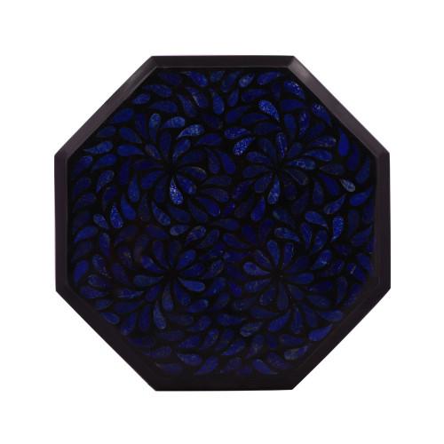 Octagonal Black Marble Side Table Inlaid With Lapislazuli Gemstone