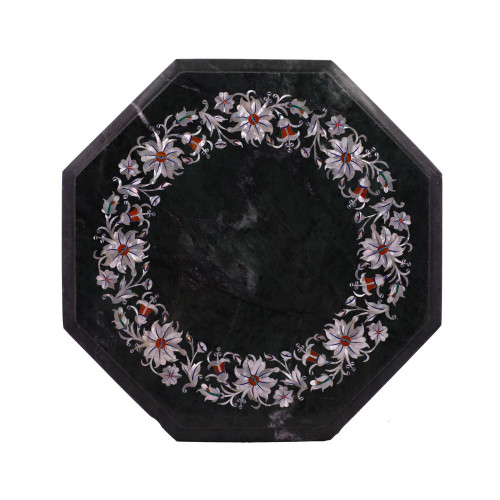 Octagonal Green Marble Side Table Inlaid With Mother of Pearl Gemstone