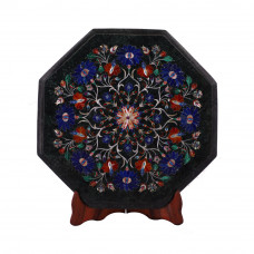 Floral Octagonal Green Marble Side Table Top