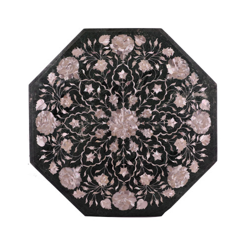 Handmade Pietra Dura Octagonal Green Marble Top Coffee Table