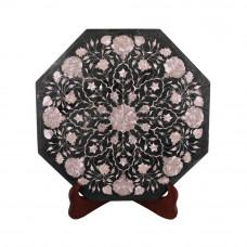 Handmade Pietra Dura Octagonal Green Marble Top Coffee Table