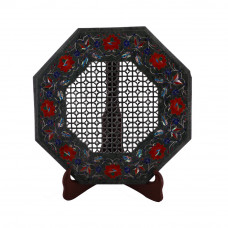 Pietra Dura Filigree Work Inlay Green Marble Side Table For Home