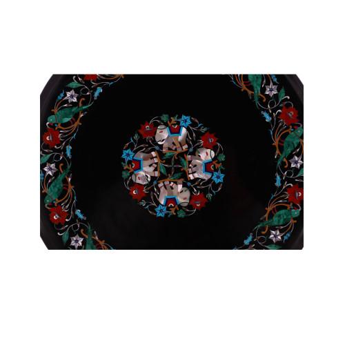 Black Marble Inlay Coffee Cum End Table Top Pietra Dura Art Work
