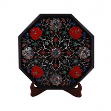 Black Marble Top Bedside Table Inlaid Semiprecious Gemstone