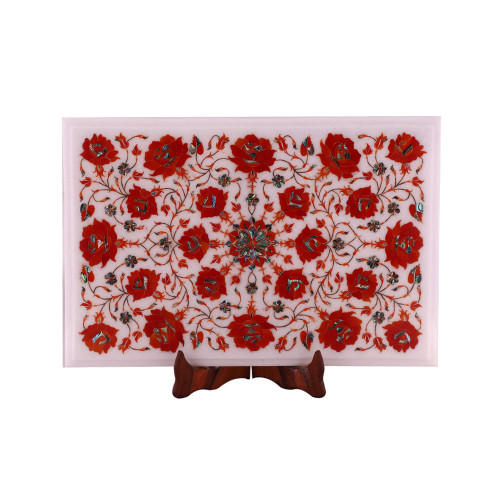 Floral Design Inlay Rectangular White Marble Top Coffee Table