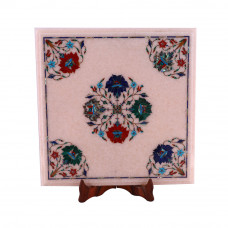 Home Decorative Square White Marble Corner Table Inlay Floral Design