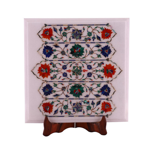 Square White Marble End Table Top Inlaid Floral Design