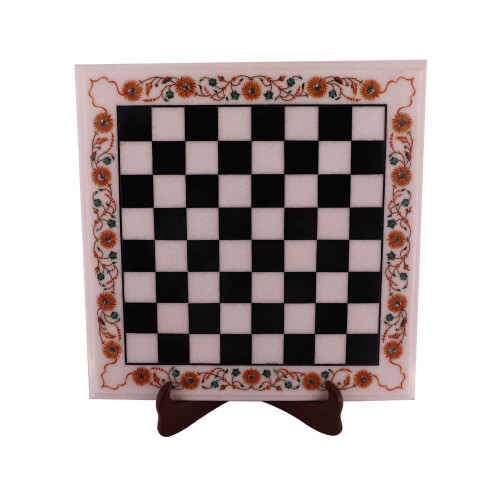 Luxury Square White Marble Chess Table Inlaid Real Gemstones