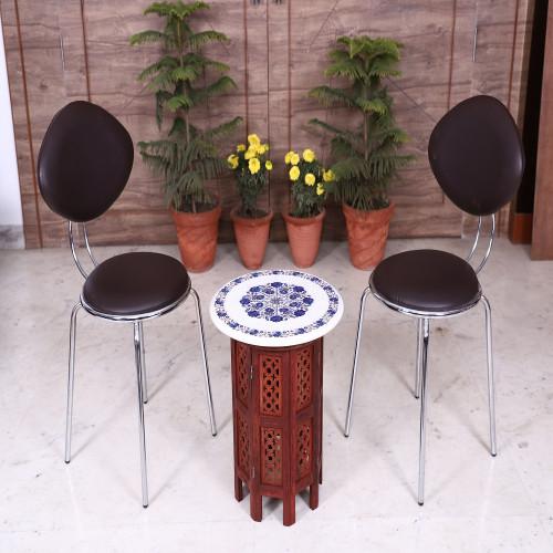 Handmade Round White Marble Coffee Table Inlay Lapis Lazuli Gemstone