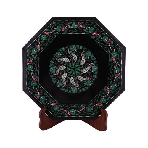 Solid Gemstone Inlay Handmade Octagonal Black Marble Side Table