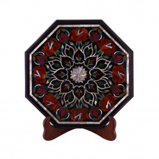 Pietra Dura Art Inlay Octagonal Black Marble Side Table