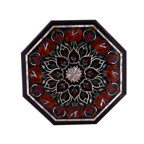 Pietra Dura Art Inlay Octagonal Black Marble Side Table
