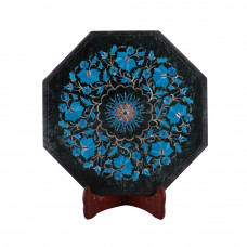 Handmade Real Stone Turquoise Inlaid Green Marble Corner Table Top