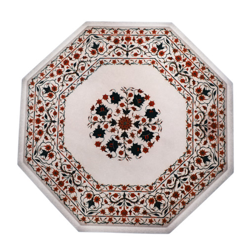 Carnelian Gemstone Inlay White Marble Bedside Table Top For Bedroom