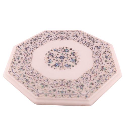 Fine Decorative Mosaic Art Inlay Paua Shell White Marble Top End Table