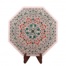 Fine Decorative White Marble Bedside Table Inlay Pietra Dura Art Work