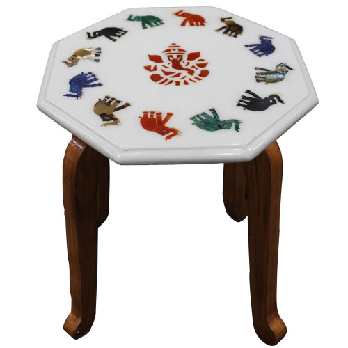 """12"""" x 12"""" Inch White Marble Inlay Table Top With Wood Furniture Base"""