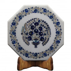 """20"""" x 20"""" Inch White Marble Table Top Semi Precious Stone Inlay Octangle Shape Coffee Table Top"""