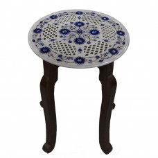 White Marble Round Coffee Table With Filigree Work