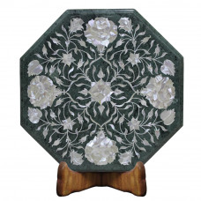 Beautiful Green Marble End Table Top Pietra Dura