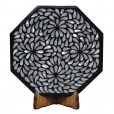 Vintage Black Marble Table Top Inlaid Mother of Pearl