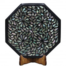 Vintage Black Marble Inlay Corner Table For Room Decor