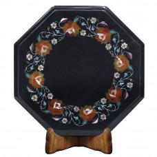Octagonal Black Marble Bedside Table Inlaid Semi Precious Stones